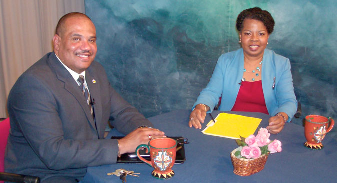 Photo of guest, Ron Davis and host Henrietta J. Burroughs during discussion