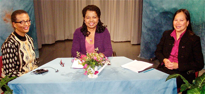 Photo from TV show with Gary Waddell and Henrietta J. Burroughs