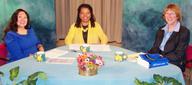 Show photo from TV discussion on public and charter schools